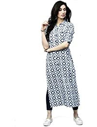 cc334ecc7 AnjuShree Choice Women Stitched White Blue Printed Straight Cotton Kurti