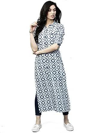 AnjuShree Choice Women Stitched White Blue Printed Straight Cotton Kurti (White Blue_36)