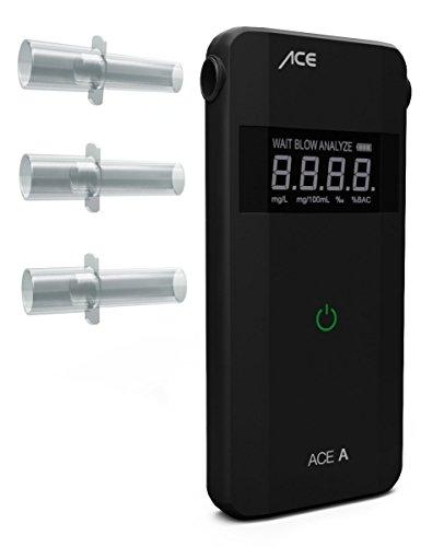 ACE Alkoholtester A - Polizeigenauer Promilletester zur Atemalkohol-Kontrolle, Schwarz, inklusive Batterien