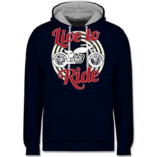 Shirtracer Motorräder - Live to Ride Motorrad - XS - Navy Blau/Grau meliert - JH003 - Kontrast Hoodie (Womens Dunklen T-shirt Lustig)