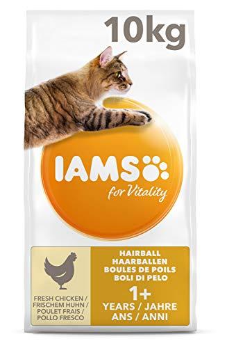 IAMS for Vitality Anti-Haarballen Katzenfutter mit frischem Huhn, enthält viel hochwertiges tierisches Protein, 10kg