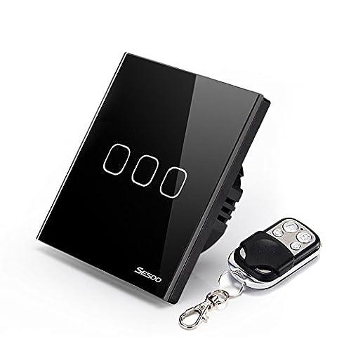 sesoo Fernbedienung Switch 3Gang 1Way, kabellose Fernbedienung Touch Schalter, Kristall Glas Schalter Panel