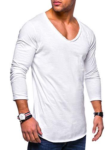 behype. Herren Oversize Longsleeve Langarm T-Shirt V-Neck Ausschnitt 30-0014 Weiß L