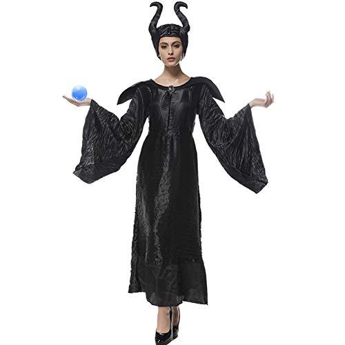 Dornröschen Kostüm Frauen - Boshafte Halloween-Kostüme für Frauen Hexen Cosplay Märchen Dornröschen Fluch Hexerei Schwarzes Kleid-XXXL