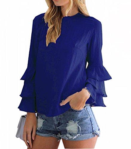 Seide Ketten-print T-shirt (LemonGirl Damen Lose Cosy Falten Ärmel Bluse Pullover Dünnes Chiffon-Hemd)