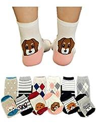 Auxma Moda 6Pairs señora linda muchachas de las mujeres calcetines de la historieta del perrito Huellas de algodón calcetines del piso