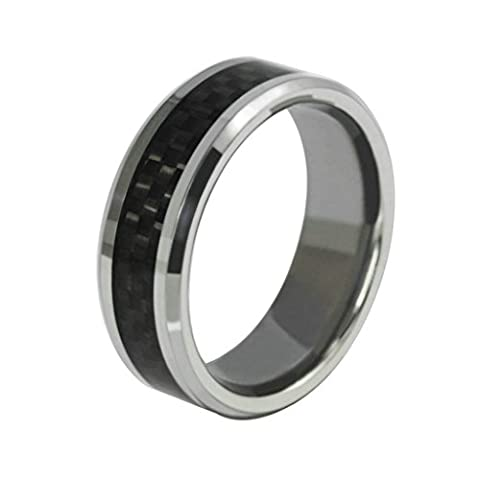 Daesar Stainless Steel Rings Black Carbon Fiber Mens Wedding Ring