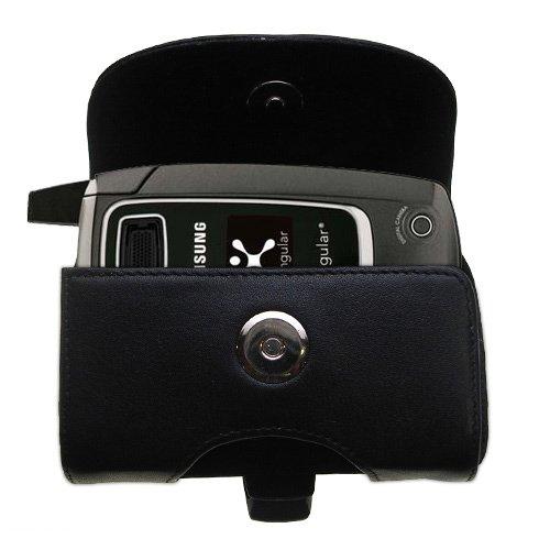 Custodia in pHorizontale schwarze Tragetasche für die Samsung SGH-D407 mit integrierter Gürtelschlaufe
