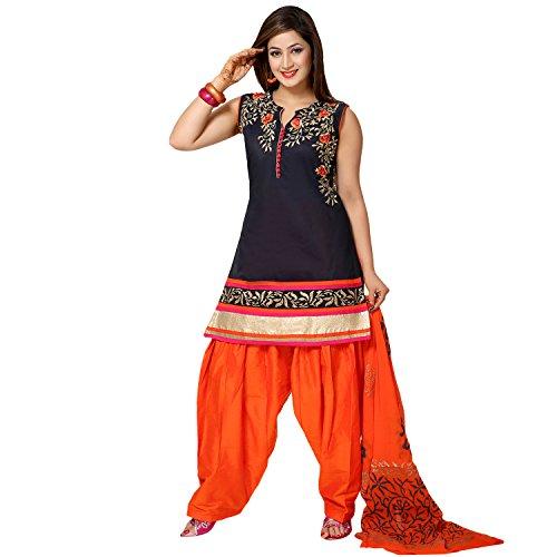 IDHA Chanderi Embroidery Ethnic Stitched Suits for Women - BlackOrange