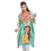 Arabian Clothing Green Mixed Round Neck Kaftan & Kimono For Women