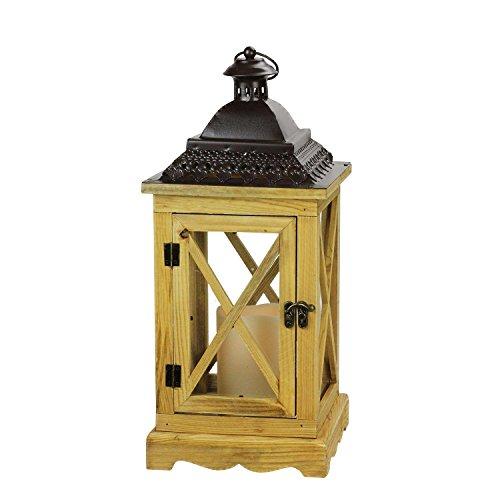 Gerson 44,5cm lanterna in legno rustico con top in metallo marrone e candela senza fiamma led con timer