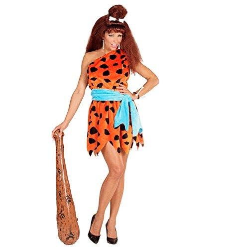 nzeit Kostüm Stoneage Woman Wilma Feuerstein Neandertalerin Höhlenmensch Kleid Schulterfrei, Größe:L ()