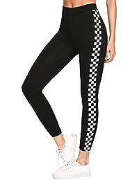 Shocknshop Sport Black Checkered Sideseam New Female Leggings Pants For Women (LEG24)
