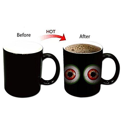 Color Changing Mug Tasse Keramischer Kaffeetasse mit Thermoeffekt Farbwechsel Tasse Halloween Furcht Zombie Party Becher (4 Augäpfel) (Halloween Augapfel-fotos)