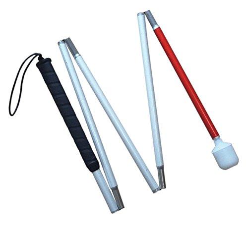 VISIONU Blindenlangstock,weiße Stock,Faltlangstock mit Kautschukgriff, Kunststoff-Rollspitze,5-teilig, 6 Größen (110 cm (43.3 inch)-Schwarz Griff)