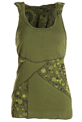 vishes - Alternative Bekleidung - Goa Neckholder Kapuzenshirt aus Jersey Baumwolle im Patchworkdesign olive (Fraggle Kostüme)