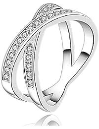 JooyliveCY - Anillo de plata 925 con circonitas, diseño en forma de X