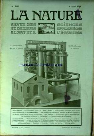 NATURE (LA) [No 2132] du 04/04/1914 - LES MOUCHES AUX YEUX D'OR PAR MERLE - TELEGRAPHIE ACOUSTIQUE PAR LA SIRENE ELECTRIQUE BLERIOT PAR FOURNIER - METALLURGIE PAR GUILLET - LES CONSTANTES CELLULAIRES PAR MEYERSON - J. HOUSTON.