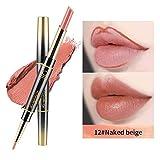 KOBWA 2 in 1 chiave a doppio bordo antiscivolo e rossetto set,impermeabile a lunga durata contorno labbra rossetto opaco, antiaderente Cup suola idratante setosa matita per labbra e rossetto set