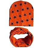 FowerYY niedlicher Kinderschal und Mütze zweiteilig Herbst und Winter warm Baby Anzug, Orange
