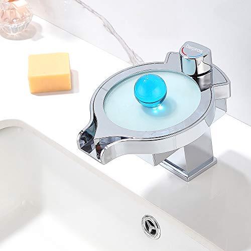 Derpras LED Wasserhahn Bad Waschtischarmatur Wasserhahn Wasserfall mit RGB 3 Farben und Farbewechsel hängt von Wassertemperatur, geeignet für Badzimmer, Waschbecken, Küche (Wasserhahn Led Waschbecken)
