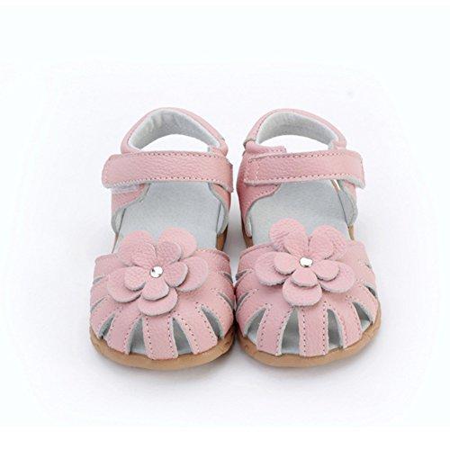 Scothen Sandales filles chaussures de plage d'été sandales romaines des femmes en plein air sandales sandales nounou plat bascule Fleur perlée princesse chausse des espadrilles Chaussures ballerine Rose