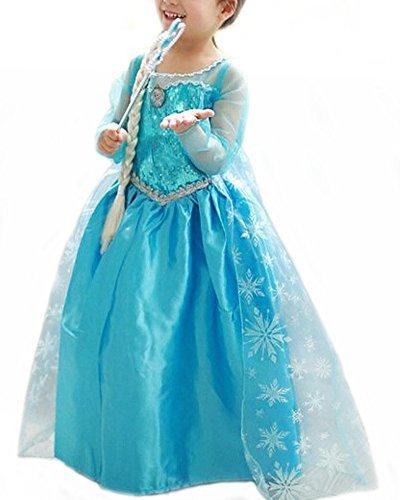 (Vogueeasy Prinzessin Eiskönigin Kostüm Kinder Glanz Kleid Mädchen Weihnachten Verkleidung Karneval Party Halloween Fest Kostüm 120)