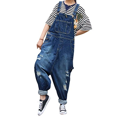 BOMOVO- Salopette- Tutine- Jeans- Abrasione- Baggy- Donna