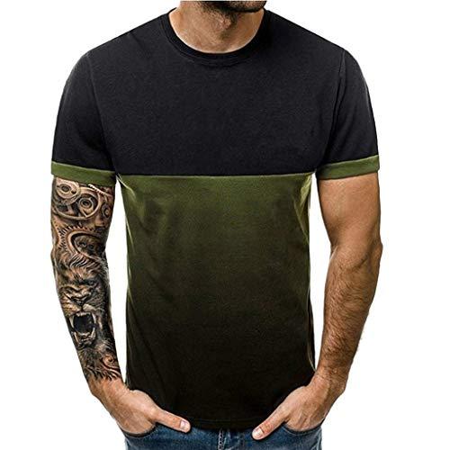 Herren Sommer Patchwork Gradient Print Kurzarm Rundhals Top Bluse T-Shirt Zolimx