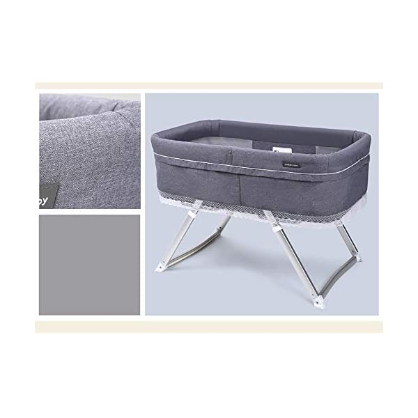 VISTANIA Baby Crib, Foldable Compact Travel Cot 0-6 Months,Gray  baby with a soft and comfortable place to sleep at any time: at home, on vacation, or when visiting family. A deep comfortable fitted mattress will leave your baby feeling calm and relaxed, allowing them to slowly drift off to sleep, the soft airy full view mesh surround allows full breathability and visibility on your little one Lightweight durable modern design,weighs just 7kg, gives excellent portability from one room to the next 6