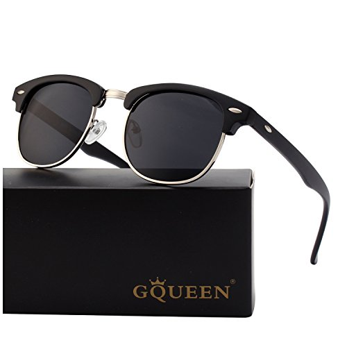 buy popular 66b57 7e82a GQUEEN Horn Rimmed Half Frame Polarized Sunglasses GQO6, M, A Matte Black  Frame Grey