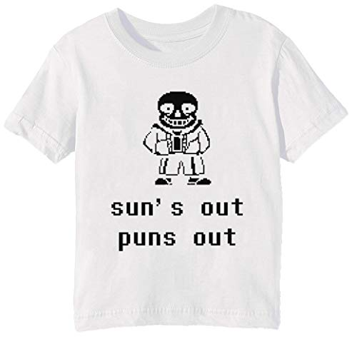 Sans - Suns Out Puns Out Unisex Jungen Mädchen T-Shirt Rundhals Weiß Kurzarm Größe 2XS Kids Boys Girls T-Shirt XX-Small Size 2XS (Suns Out Guns Out Tank Top)