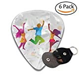 Jumping People In Bright Clothes And Colored Spots Stylish Celluloid Guitar Picks Plectrums For Guitar Bass 6 Pack.96mm