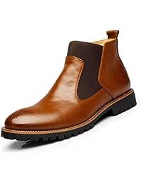 Botines De Hombre Botines De Estilo BritáNico De Invierno Botas De Brogue MarróN Oscuro Zapatos Casuales