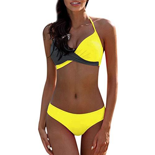 QingJiu Gepolsterter Push-Up-BH für Damen Bikini-Set Badeanzug Badeanzug Bademode Beachwear (Small, Grau)