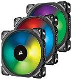 Corsair ML120 PRO RGB LED 120mm PC-Gehäuselüfter (mit Magnetschwebetechnik, PWM, mit Lighting Node und Hub, 3er-Pack) schwarz