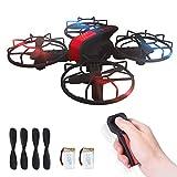 CURVAN Mini Quadrocopter Drohne - Drone für Anfänger | zum Drinnen/Draußen Spielen | Motion Controller 2.4 Ghz G-Sensor / Kopflos-Modus / Höhe-halten / 3D-Flips | Einfach zu Kontrollieren | Rot