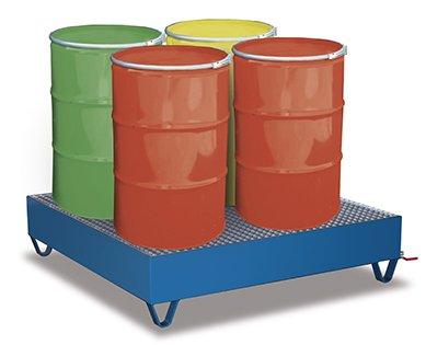 Auffangwanne mit Gitterrost für 4 Fässer a 200 l Traglast (kg): 1000 Ladefläche: 1190 x 1190 mm RAL 5010 Enzianblau
