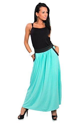 Futuro Fashion Damen Vollständig Länge Rock Mit Taschen A-Line Maxi Zigeuner Rock Größen 8-18 8373 Aqua
