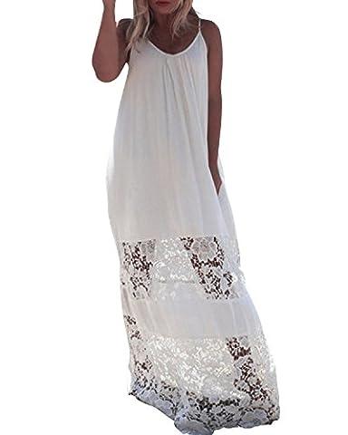ZANZEA Damen Sexy Dünne Ärmellos Crochet Lace Spitze Boho Maxi Long Beach Strandkleid Weiß EU 40 / US 8