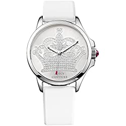 Juicy Couture Jetsetter Women's Quartz Watch with Silver Dial Analogue Display and White Leather Strap 1901095