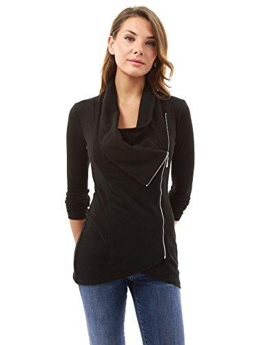 PattyBoutik Damen drapierter Pullover mit Zipfel Saum und Reißverschluss Schwarz