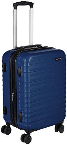 Amazonbasics - trolley rigido, 55 cm (utilizzabile come bagaglio a mano di dimensioni standard), blu scuro