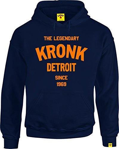 KRONK Legendario Detroit de Boxeo Gimnasio Camiseta de Manga Larga Sudadera con Capucha Azul Azul Marino Large