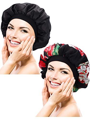 Chinco 2 Stücke Schlaf Mütze Satin Mützen Nachthut Schlaf Kopf Abdeckung für Damen Frizzy Haar Mädchen Alltagskleidung (Farbe Satz 2)