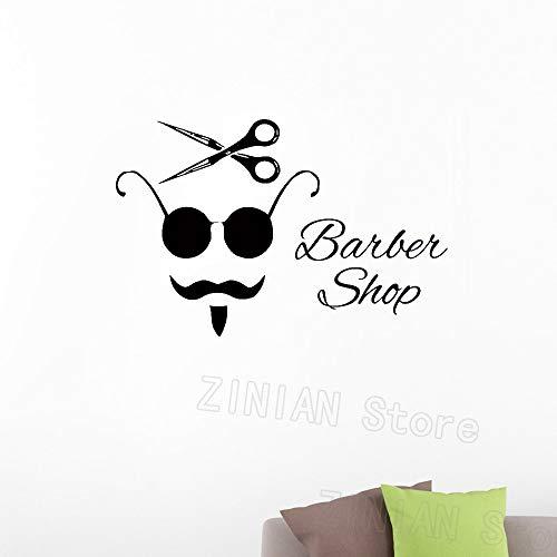 zzlfn3lv Vintage Poster Wandaufkleber Haar Schönheitssalon Wanddekoration Wandtattoo Barber Shop für Mann Brille Bart Schere Wandbild 63 * 42 cm