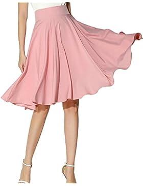 Yonglan Mujer Vintage Elástica Plisada Básica Patinador Multifuncional Corto Falda Pink S