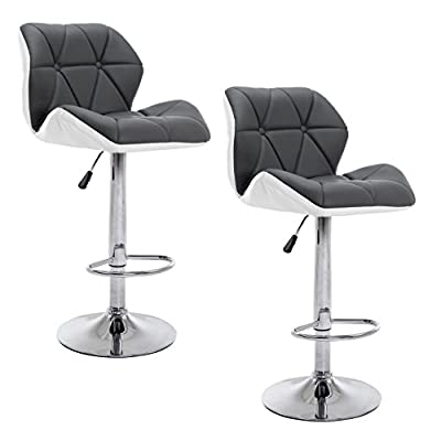 Cherry Tree Furniture SET OF 2 X Faux Leather Chrome Base Height Adjustable Swivel Barstool Kitchen Stool in Grey & White MB-209 - inexpensive UK light shop.