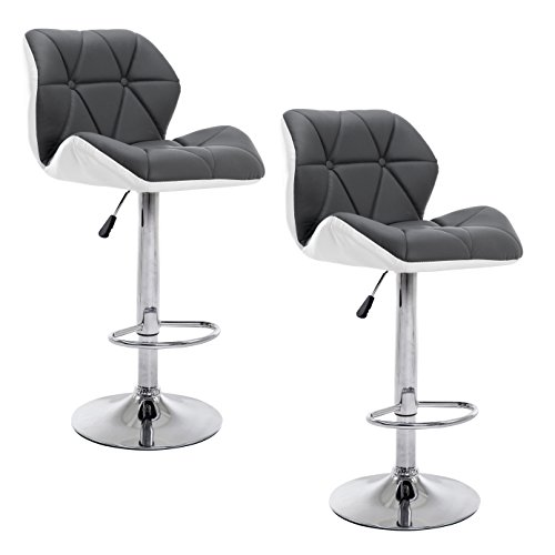 Cherry Tree Furniture SET OF 2 X Faux Leather Chrome Base Height Adjustable  Swivel Barstool Kitchen Stool In Grey U0026 White MB 209