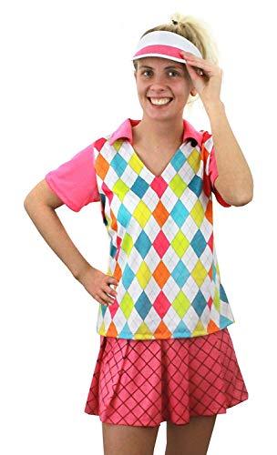 Mädchen Kostüm Golfer - ILOVEFANCYDRESS Damen Golf Golfer Kostüm Pink Golf Babe Sport Mädchen rosa pink top, Rock & Visier Fancy Kleid